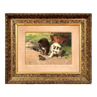 """Two Kittens and a Frog"" Oil Painting on Academy Board Signed l.l ""J Dolph"" John Dolph (New York/Ohio 1835-1903) For Sale"