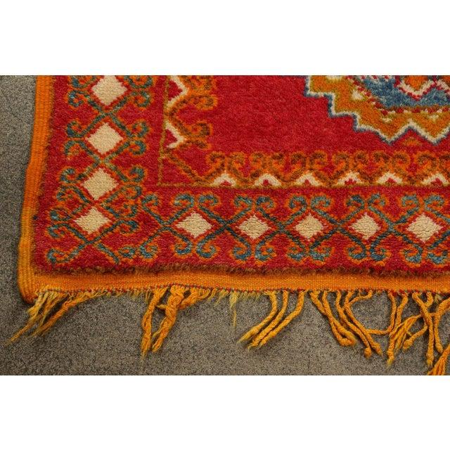 Blue Vintage Moroccan Orange Tribal Rug For Sale - Image 8 of 10
