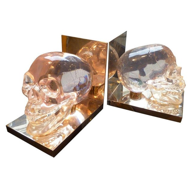 French 70's Lucite Skull Bookends For Sale