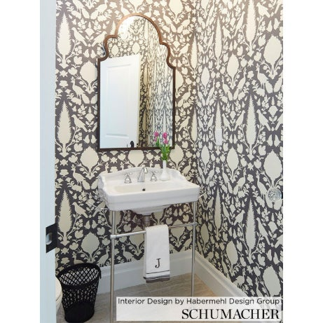 Contemporary Schumacher Chenonceau Damask Wallpaper in Charcoal - 2-Roll Set (9 Yards) For Sale - Image 3 of 5
