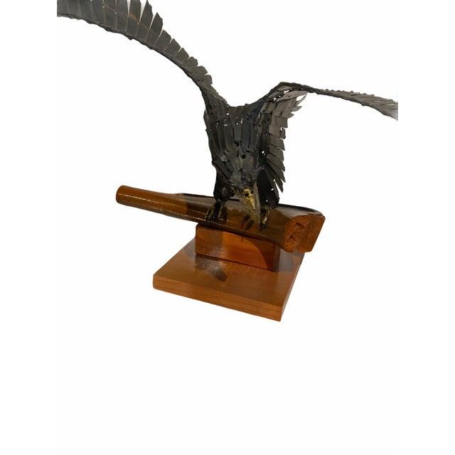 Mid-Century Modern Vintage Artisan Mid-Century Welded Metal Sculpture Flying Eagle For Sale - Image 3 of 9