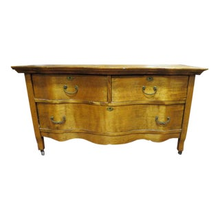 Antique Victorian Satinwood and Oak Low Chest of Drawers For Sale