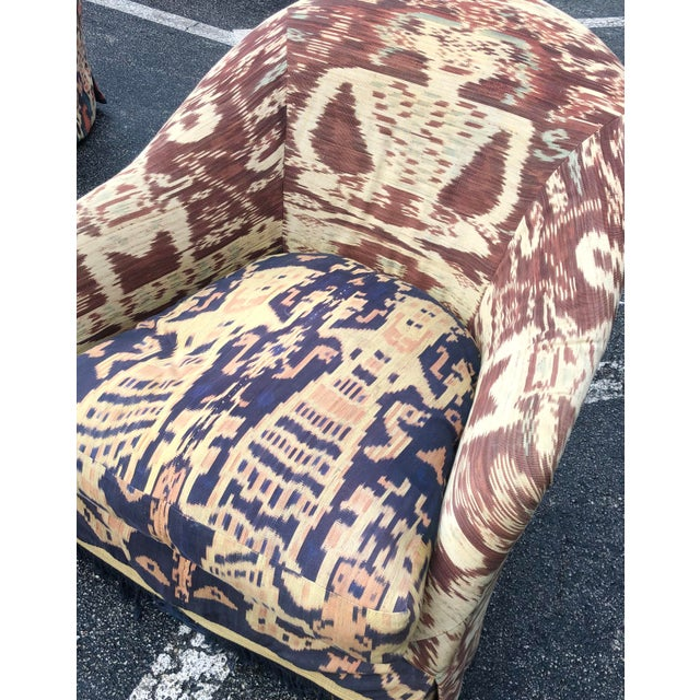 Contemporary Custom Made Ikat Print Club Chair For Sale - Image 3 of 7