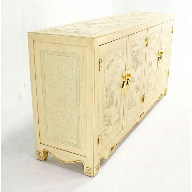 Early 20th Century White Lacquer Oriental Style Modern Sideboard by Drexel For Sale - Image 5 of 10