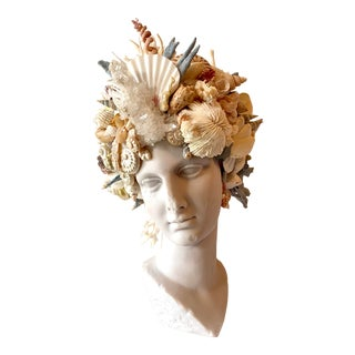 Shell Encrusted Marble Bust of Greek Goddess, Theia For Sale