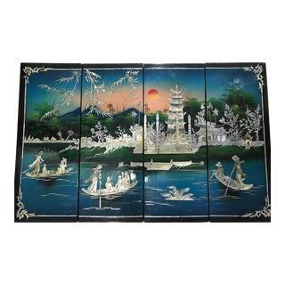 Asian Lacquered Wall Panels With Mother of Pearls - Set of 4 For Sale