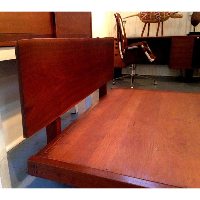 1960s Platform Bed With Walnut Headboard in the Style of George Nakashima For Sale - Image 5 of 11