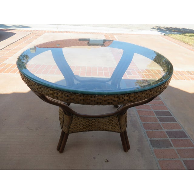 Wicker & Glass Top Dining Table - Image 4 of 8