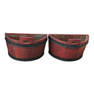 Half Barrel Wood Planters With Copper Lining - a Pair For Sale