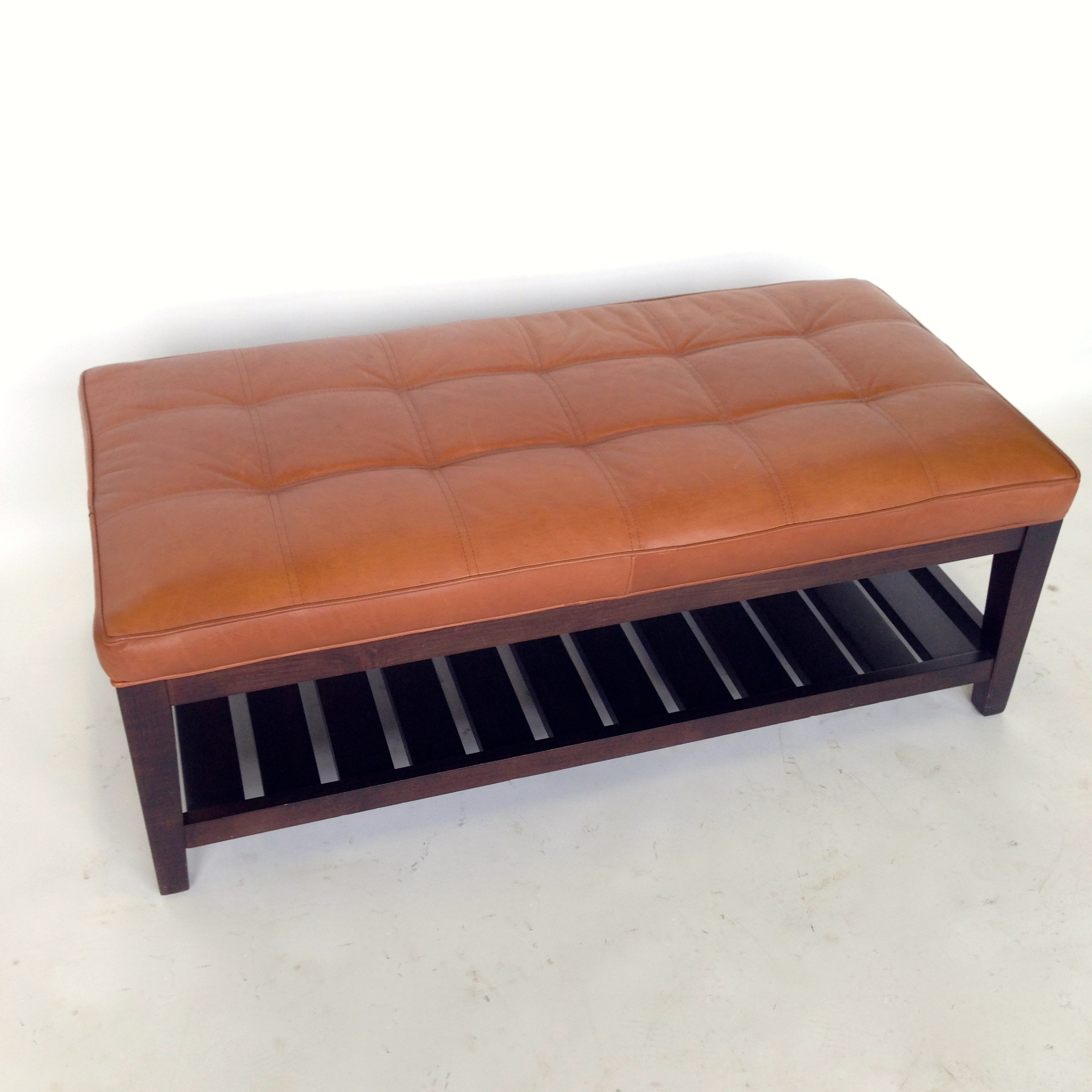 Crate U0026 Barrel Leather Bench   Image 3 ...
