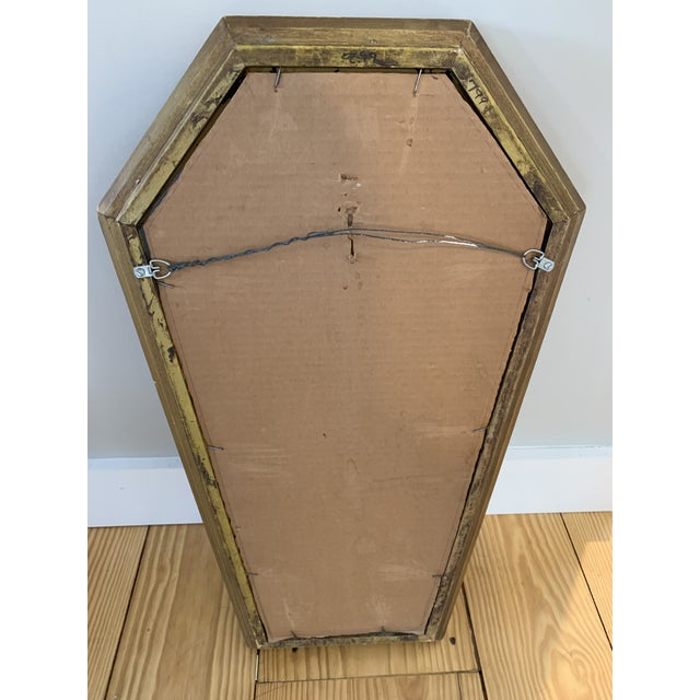 Gothic Wood Coffin Shaped Mirror For Sale - Image 4 of 6