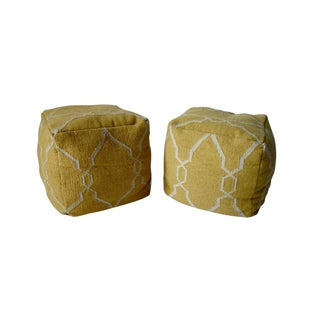 Yellow Dhurrie Poufs -Pair For Sale