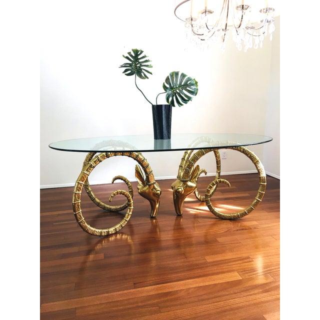Mid-Century Modern Vintage Brass Ram's Head / Gazelle Alain Chervet Style Hollywood Regency Dining Table For Sale - Image 3 of 13