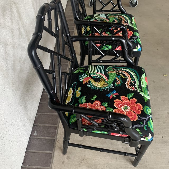 Black Black Bamboo Chairs- a Pair For Sale - Image 8 of 13