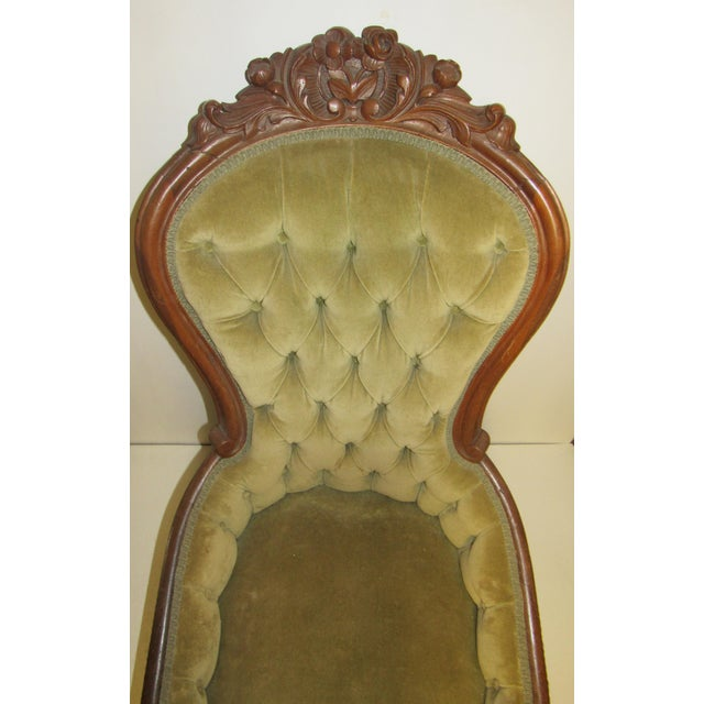 Victorian Chair With Green Velvet Upholstery For Sale - Image 4 of 11