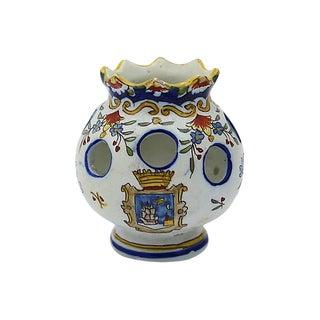 Antique French Faience Potpourri Pot For Sale