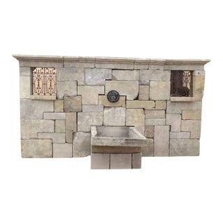Mid 19th Century Antique Limestone Wall Fountain For Sale