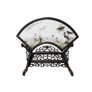 Chinese Wood Frame Porcelain Plaque Table Top Screen Display For Sale