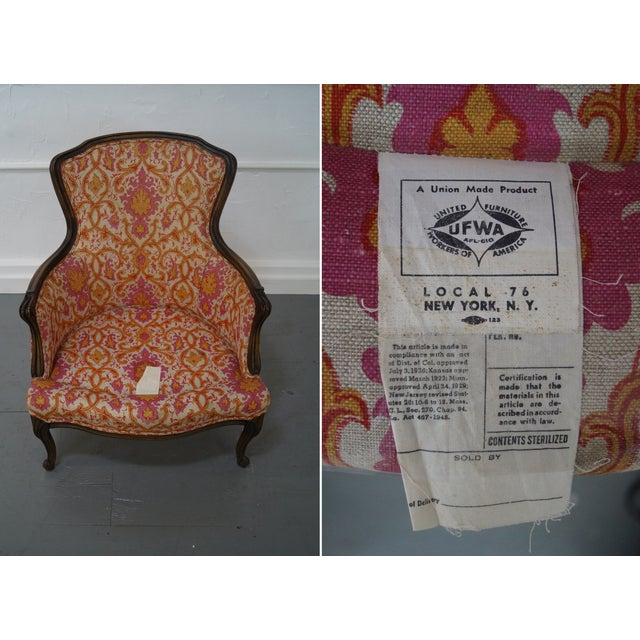 French Louis XV Vintage Red Bergere Chairs - Pair - Image 6 of 10