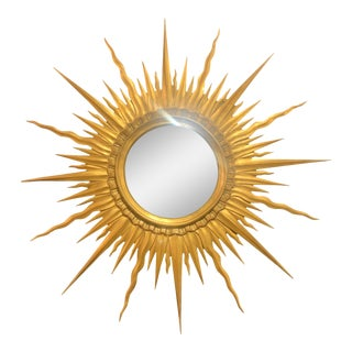 Gold Leaf Sunburst With Convex Mirror For Sale