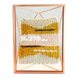 """Stay Golden"" Textile Tapestry in Floating Frame"