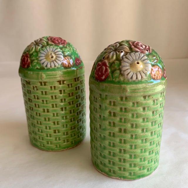 Farmhouse Large Vintage Floral Ceramic Salt & Pepper Shakers, a Pair For Sale - Image 3 of 10
