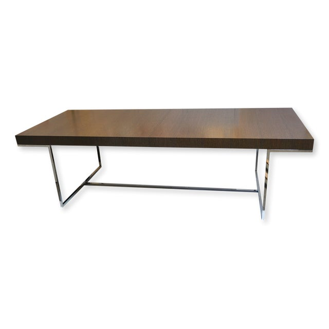 "B&b Italia ""Athos"" Grey Oak & Chrome Extendable 8ft Dining Table For Sale - Image 10 of 10"
