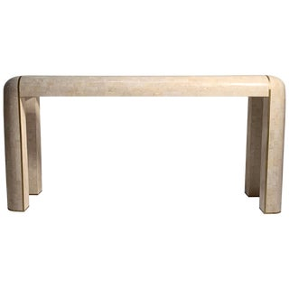 Maitland-Smith Console Tessellated Fossil Mosaic Stone Marble Console Table For Sale