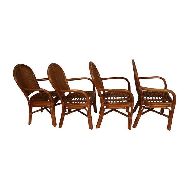 Sheaf of Wheat Rattan Dining Table and Chairs For Sale In Baltimore - Image 6 of 11