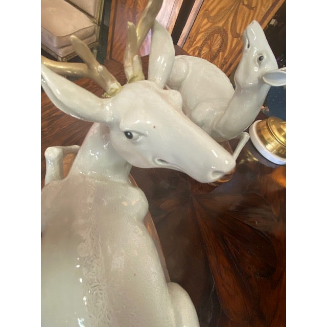 1960s Pair of Vintage Porcelain Deer Figurine For Sale - Image 5 of 11