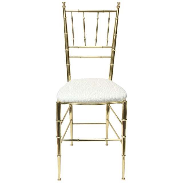 Vintage Mid Century Italian Chiavari Faux Bamboo Brass and Upholstered Side Chair For Sale - Image 11 of 11