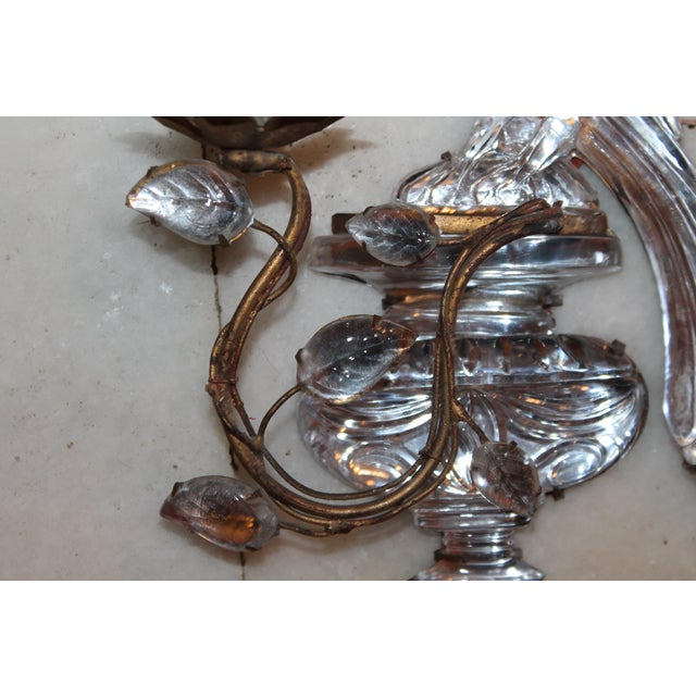 Gold 1920s Maison Bagues Signed French Art Deco Crystal & Bronze Parrot Sconce For Sale - Image 8 of 12