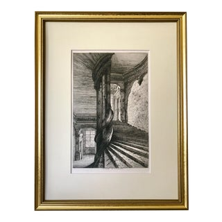 Antique 19th Century French Etching of Chateau Châteaux D' Oiron Staircase Architectural Detail For Sale