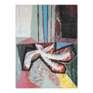 1950s Mid Century Modernist Abstract in Red and Blue, Oil Painting For Sale