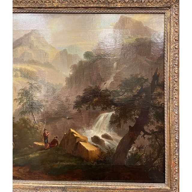 19th Century French Oil on Canvas Pastoral Painting in Carved Gilt Frame Signed For Sale - Image 4 of 13