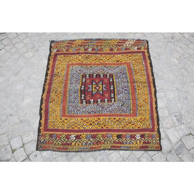 Tribal Vintage Vivid Color Cicim Kilim Rug - 3′4″ × 3′5″ For Sale - Image 13 of 13