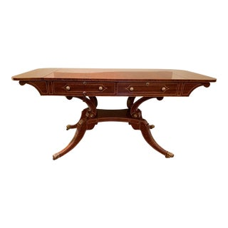 Mid 20th Century Traditional Polished Wood Desk or Dining Table For Sale