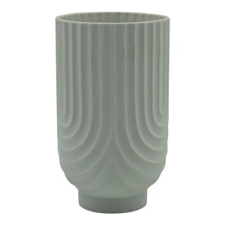 1962 Heinrich Fuchs White Bisque Optical Art Vase for H & Co Selb Bavaria For Sale