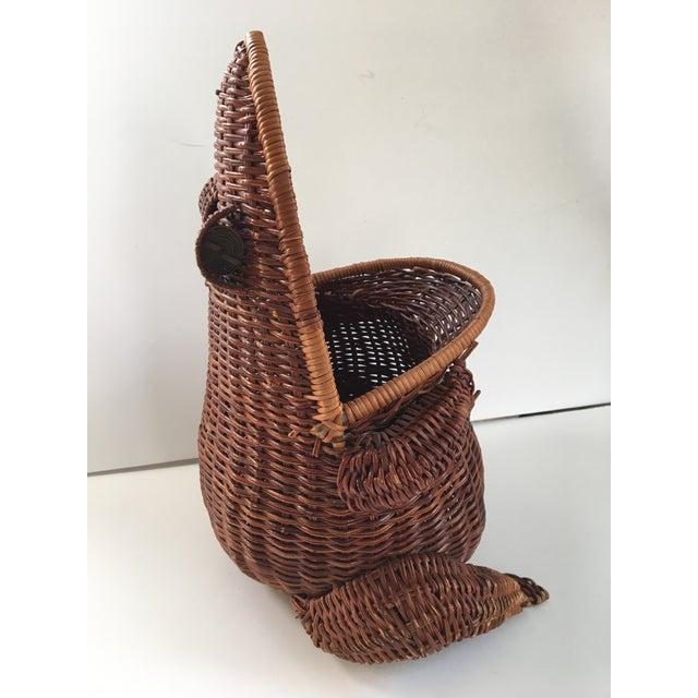 Boho Chic Large-Vintage Natural Wicker Frog Basket For Sale - Image 3 of 12