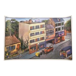 Vintage French School La Rue/La Cuisine Two-Sided Poster