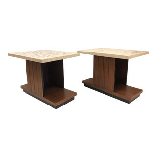 Pair Art Deco Terrazzo Top Side Tables For Sale