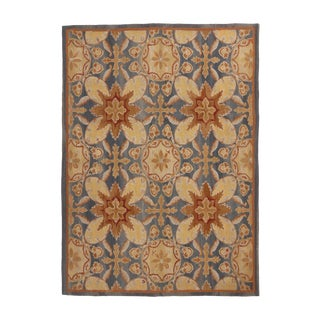 18th Century Aubusson Inspired Design Transitional Blue and Cream Wool Rug - 4′4″ × 6′ For Sale