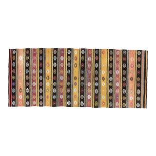 Vintage Brown Turkish Area Kilim Flatwioven Rug 5' X 12' For Sale