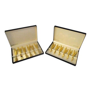 Mid-Century 24k Gold Fork & Knife Appetizer Sets - A Pair For Sale