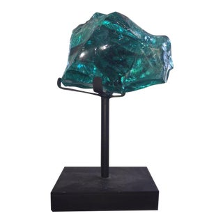 Carved Glass Slag on Stand