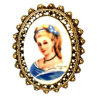 20th Century French Hand Painted Limoges Cameo Brooch & Necklace Pendant For Sale
