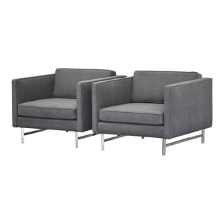 Grey & Chrome Vintage Cube Lounge Chairs - a Pair For Sale