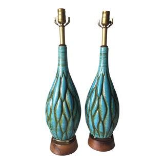Mid-Century Turquoise Ceramic & Walnut Lamps - a Pair