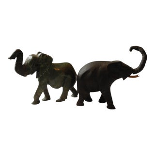 Hand Carved Elephant Figurines - A Pair