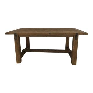 Restoration Hardware Reclaimed Wood & Zinc Strap Rectangular Dining Table For Sale